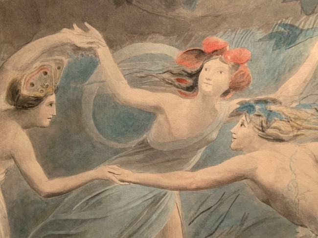William Blake (British, 1757-1827) 'Oberon, Titania and Puck with Fairies Dancing' c. 1786 (installation view detail)