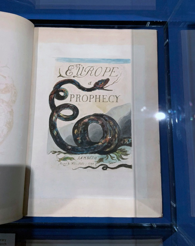 William Blake (British, 1757-1827) 'Europe, A Prophecy (Copy A)' 1794 (installation view)