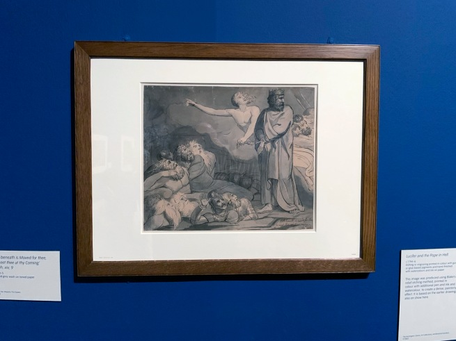 William Blake (British, 1757-1827) 'Hell beneath is Moved for thee, to Meet thee at thy Coming Isaiah, xiv, 9' c. 1780-85 (installation view)