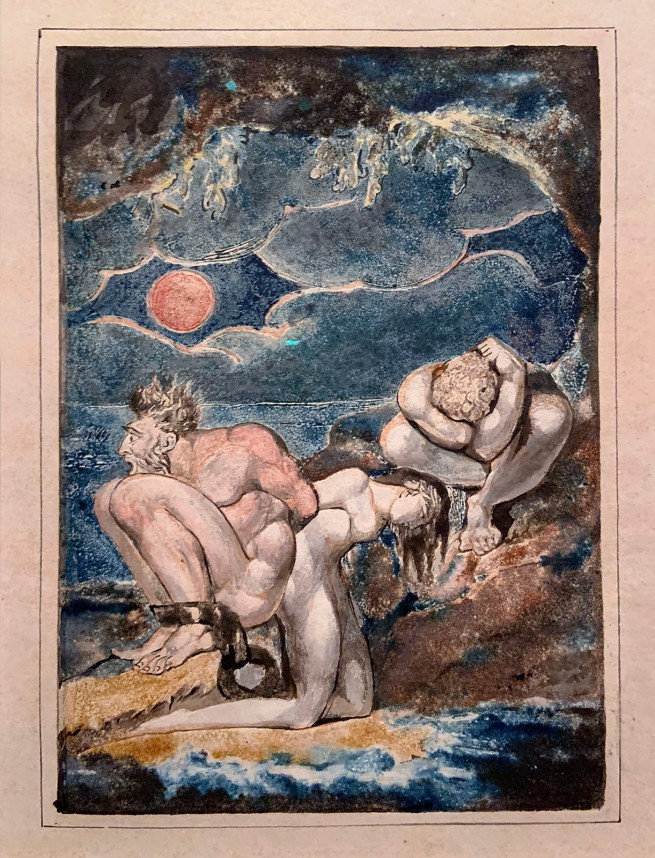 William Blake (British, 1757-1827) Frontispiece to 'Visions of the Daughters of Albion' c. 1795 (installation view)