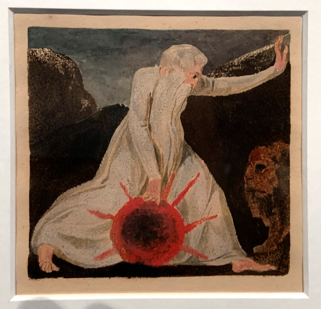William Blake (British, 1757-1827) Small Book of Designs: Plate 7, 'Of life on his forsaken mountains' 1794 (installation view)