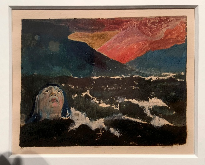William Blake (British, 1757-1827) Small Book of Designs: Plate 8, 'dark seascape with figure in water' 1794 (installation view)