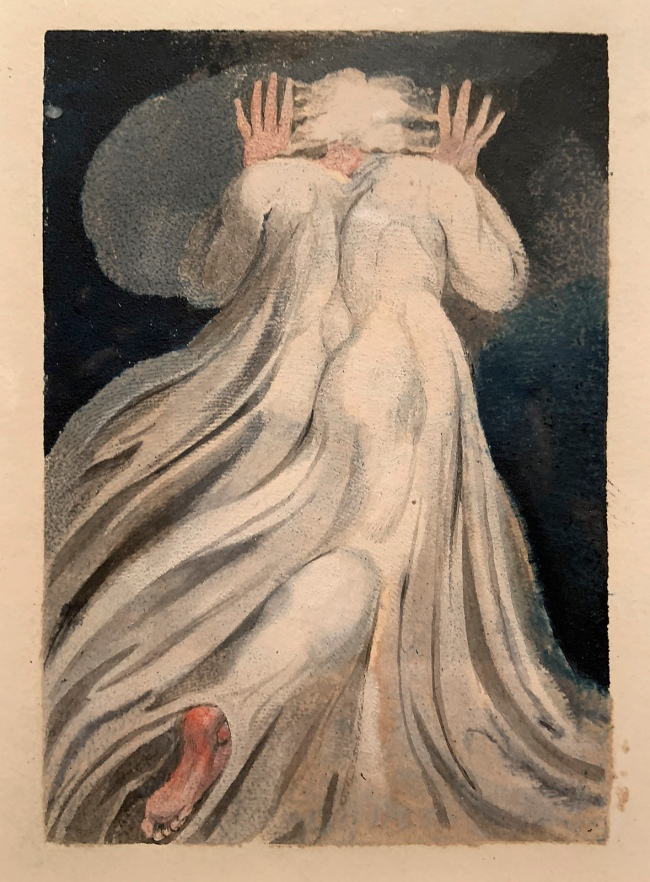 William Blake (British, 1757-1827) Small Book of Designs: Plate 11, 'Gowned Male Seen from behind' 1794 (installation view)