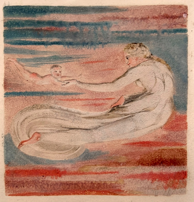 William Blake (British, 1757-1827) Copy A, plate 12, Design from 'Preludium' in 'The First Book of Urizen' 1794 (installation view)