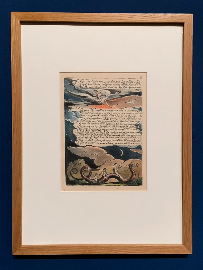 William Blake (British, 1757-1827) America, A Prophecy (Copy M) Plate 13, 'Fiery the Angels Rose...' 1793 (installation view)