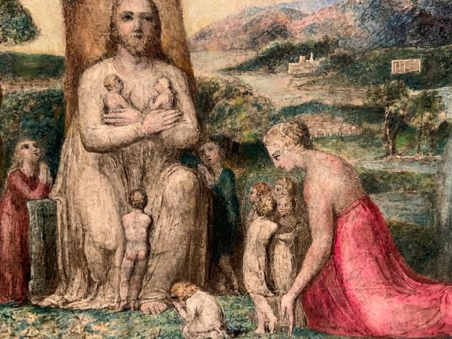 William Blake (British, 1757-1827) 'Christ Blessing the Little Children' 1799 (installation view) 'Christ Blessing the Little Children' 1799 (installation view detail)