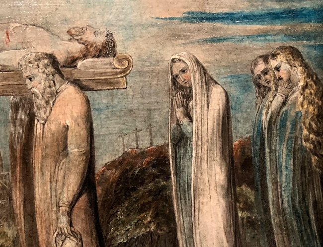 William Blake (British, 1757-1827) 'The Body of Christ Borne to the Tomb' c. 1799-1800 (installation view detail)