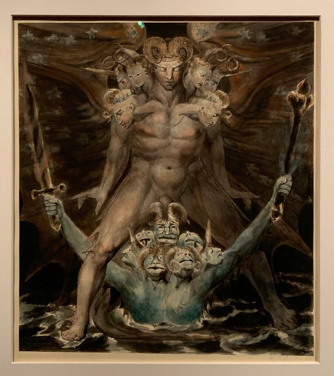 William Blake (British, 1757-1827) 'The Great Red Dragon and the Beast from the Sea' c. 1805 (installation view)