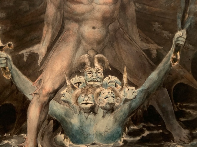 William Blake (British, 1757-1827) 'The Great Red Dragon and the Beast from the Sea' c. 1805 (installation view detail)