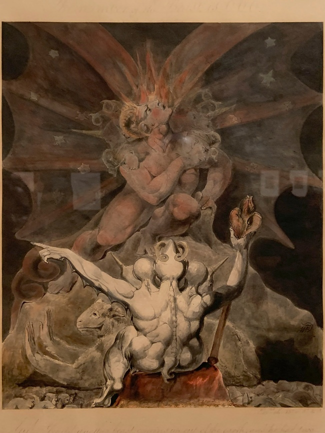 William Blake (British, 1757-1827) 'The Number of the Beast is 666' c. 1805 (installation view)
