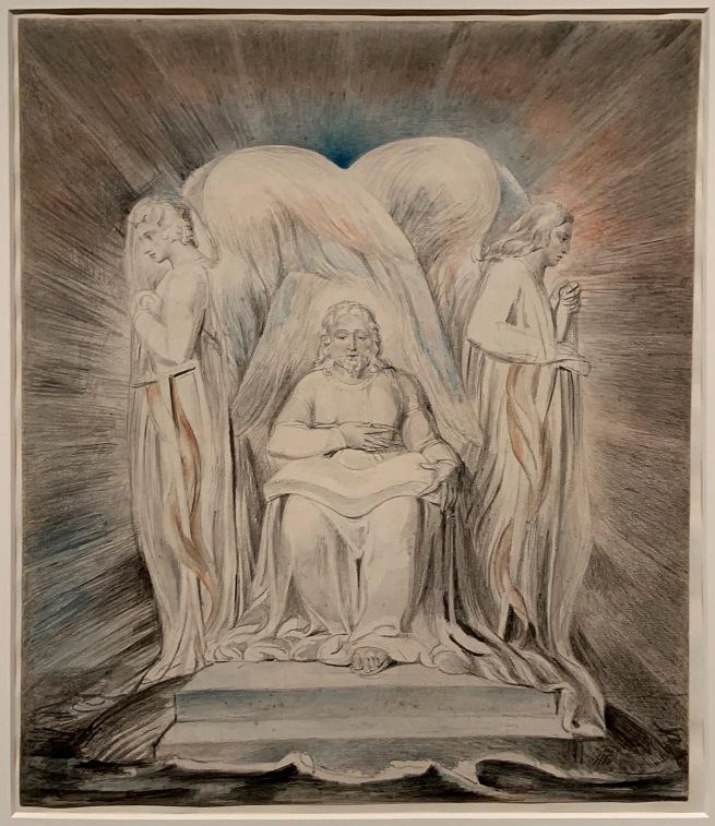 William Blake (British, 1757-1827) 'Christ Girding Himself with Strength' c. 1805 (installation view)