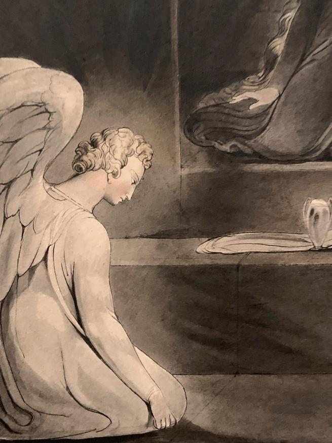 William Blake (British, 1757-1827) 'The Magdalene at the Sepulchre' c. 1805 (installation view detail)