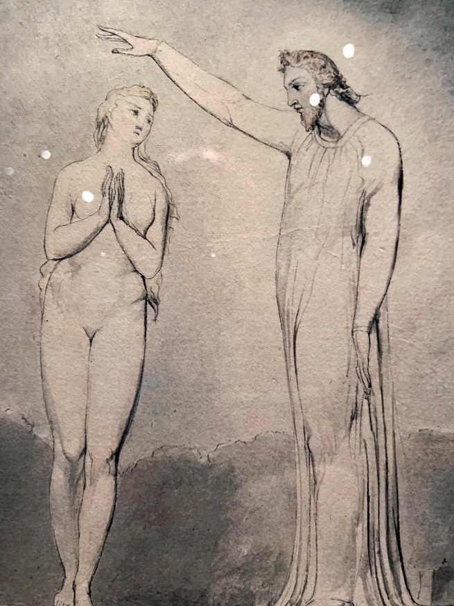 William Blake (British, 1757-1827) Illustrations to Milton's 'Paradise Lost' Plate 8: 'The Creation of Eve' (Thomas set) 1807 (installation view detail)