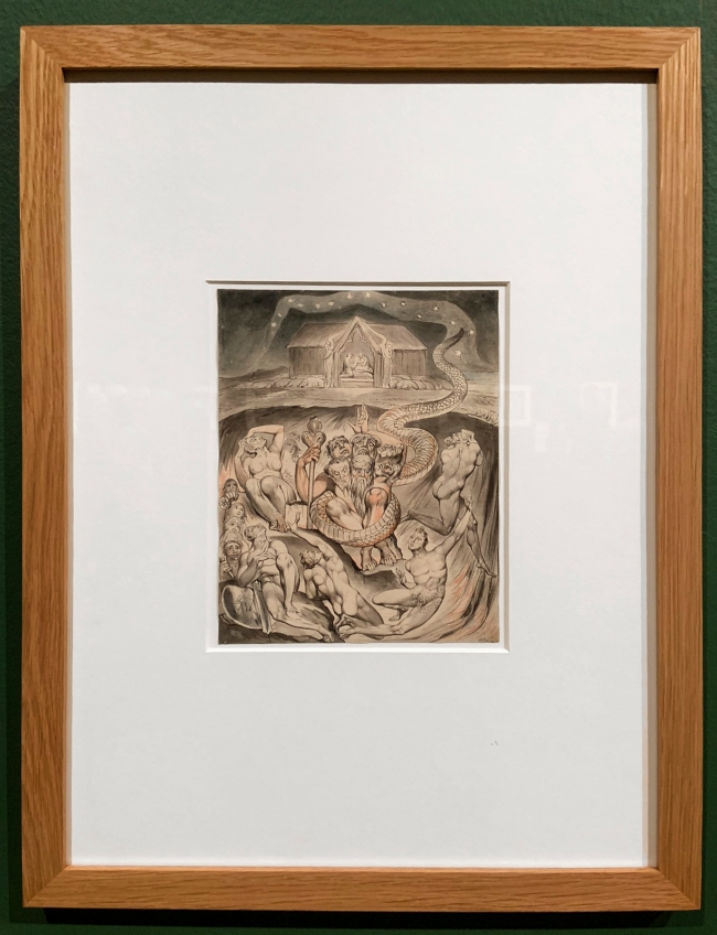 William Blake (British, 1757-1827) Illustrations to Milton's Hymn 'On the Morning of Christ's Nativity' Plate 3: 'The Descent of Typhon and the Gods into Hell' 1809 (installation view)