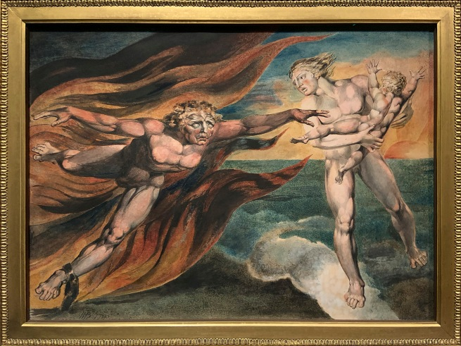 William Blake (British, 1757-1827) 'The Good and Evil Angels' 1795 - c. 1805 (installation view)