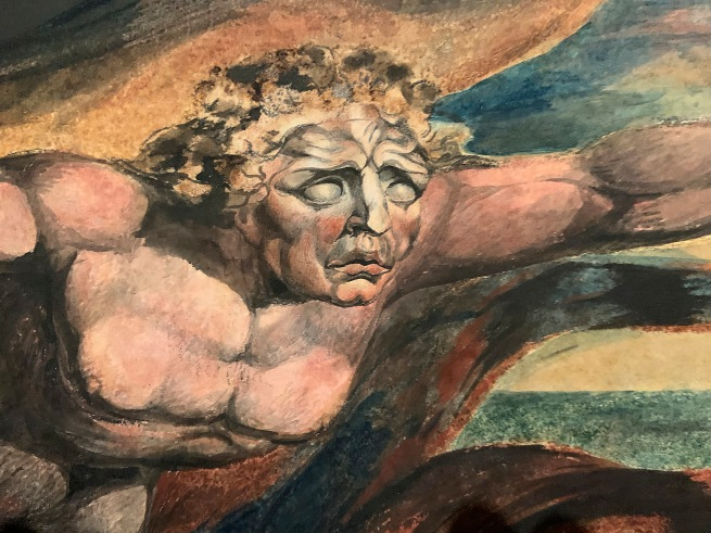 William Blake (British, 1757-1827) 'The Good and Evil Angels' 1795 - c. 1805 (installation view detail)