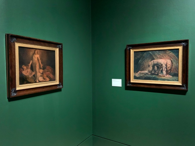Installation view of the exhibition 'William Blake' at Tate Britain, London showing twelve large colour prints