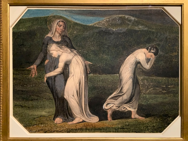 William Blake (British, 1757-1827) 'Naomi Entreating Ruth and Orpah to Return to the Land of Moab' c. 1795 (installation view)