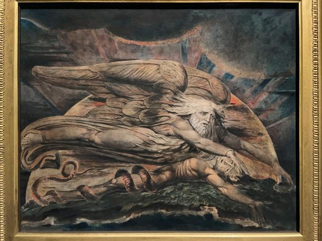 William Blake (British, 1757-1827) 'Elohim Creating Adam' 1795 - c. 1805 (installation view)