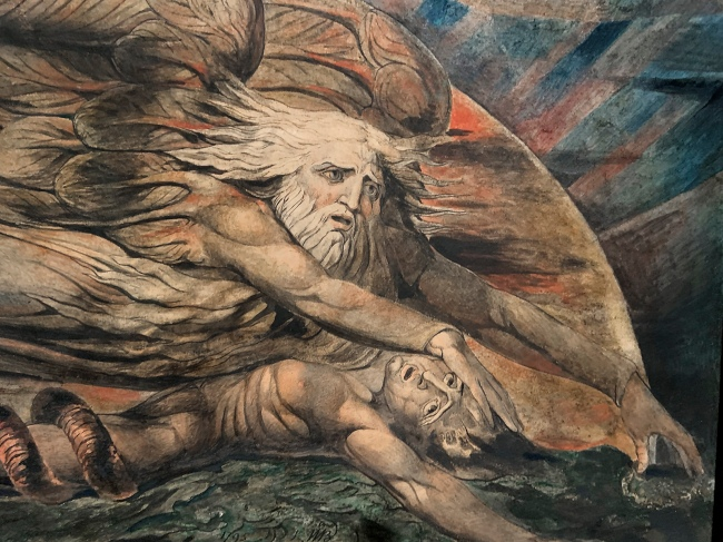 William Blake (British, 1757-1827) 'Elohim Creating Adam' 1795 - c. 1805 (installation view)