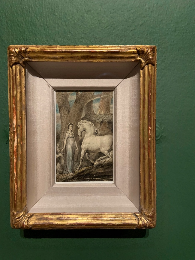 William Blake (British, 1757-1827) 'The Horse' c. 1805 (installation view)