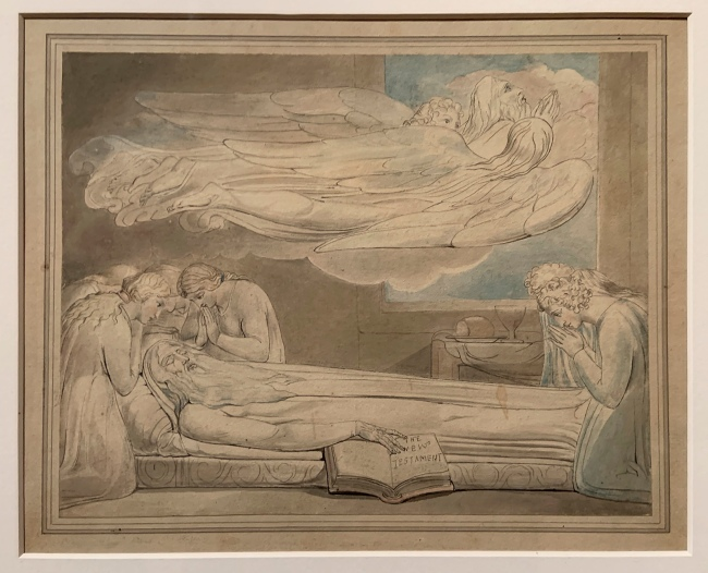 William Blake (British, 1757-1827) 'The Death of the Good Old Man' 1805 (installation view)