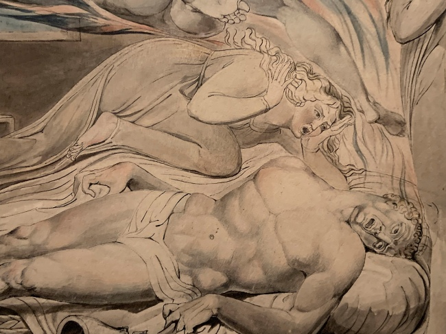 William Blake (British, 1757-1827) 'Death of the Strong Wicked Man' 1805 (installation view detail)