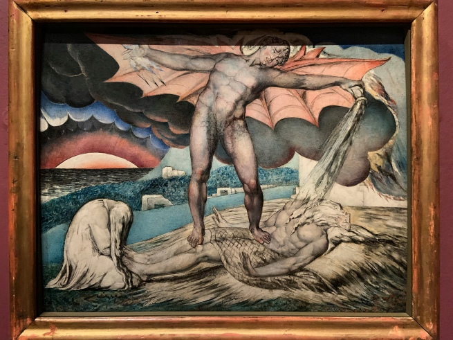 William Blake (British, 1757-1827) 'Satan Smiting Job with Sore Boils' c. 1826 (installation view)