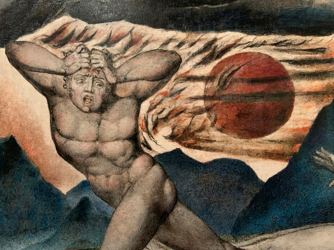 William Blake (British, 1757-1827) 'The Body of Abel Found by Adam and Eve' c. 1826 (installation view)