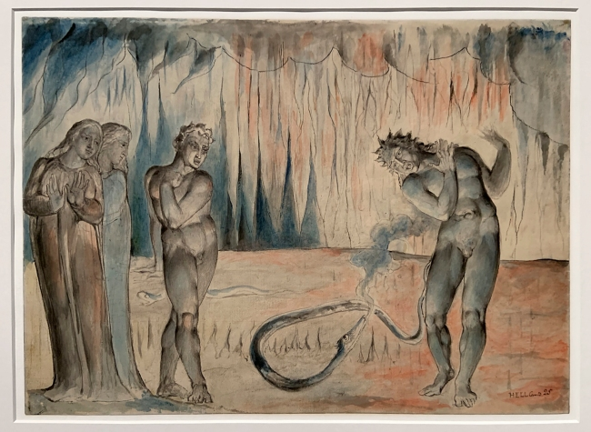 William Blake (British, 1757-1827) 'The Serpent Attacking Buoso Donati' 1824-7 (installation view)