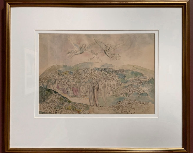 William Blake (British, 1757-1827) 'The Lawn with the Kings and Angels' 1824-7 (installation view)