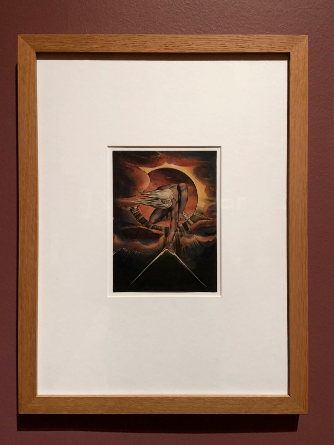 William Blake (British, 1757-1827) 'Europe' Plate i: Frontispiece, 'The Ancient of Days' 1827 (installation view)
