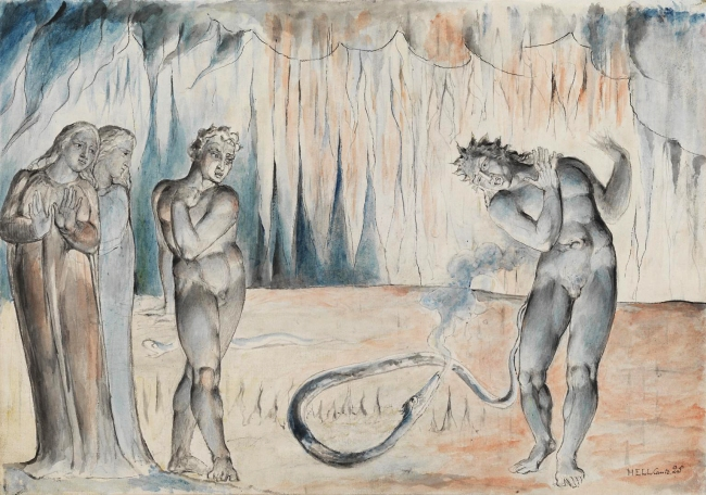 William Blake (British, 1757-1827) 'The Serpent Attacking Buoso Donati' 1824-7