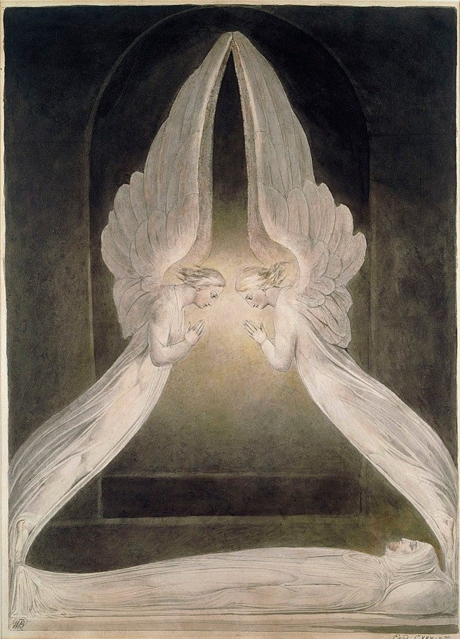 William Blake (British, 1757-1827) 'Christ in the Sepulchre, Guarded by Angels' c. 1805
