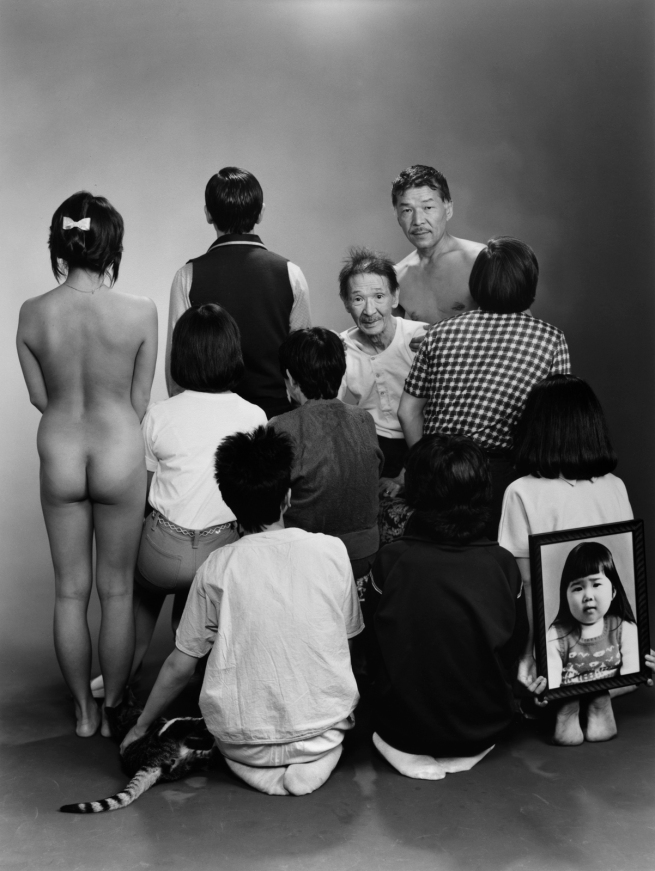 Masahisa Fukase (Japan, 1934-2012) 'Upper row, from left to right: A, a model; Toshiteru, Sukezo, Masahisa. Middle row, from left to right: Akiko, Mitsue, Hisashi Daikoji. Bottom row, from left to right: Gaku, Kyoko, Kanako, and a memorial portrait of Miyako' 1985