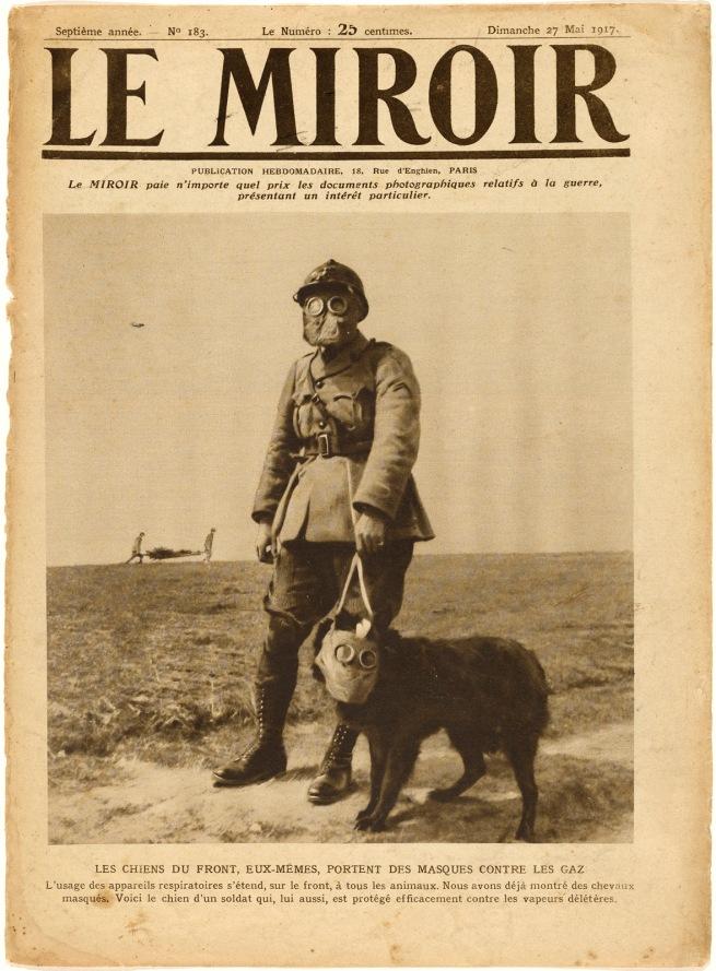 Underwood & Underwood (American, founded 1881, dissolved 1940s) 'Les Chiens du Front, eux-mems, portent des masques contre les gaz' May 27, 1917