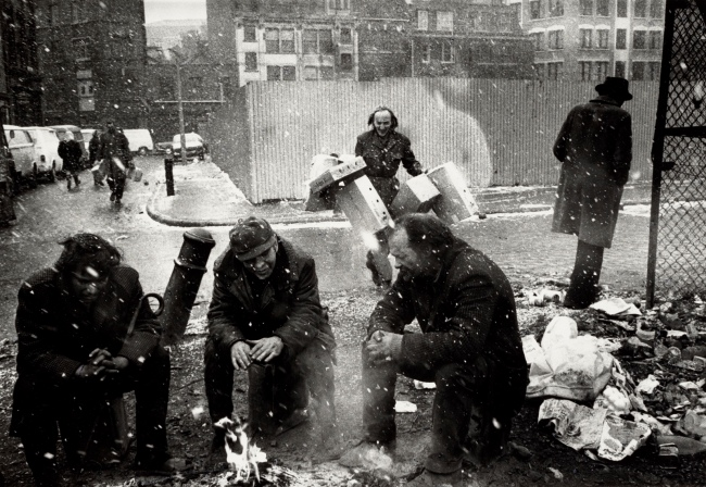 Marketa Luskacova (Czech, b. 1944) 'Men around Fire, Spitalfields Market' Negative 1976, print 1991