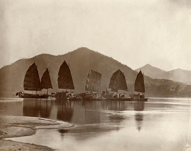 Lai Fong (Chinese, 1839-1890) 'Chinese Junks, Hong Kong' 1870s