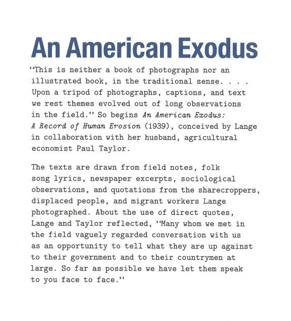 Lange 'An American Exodus'