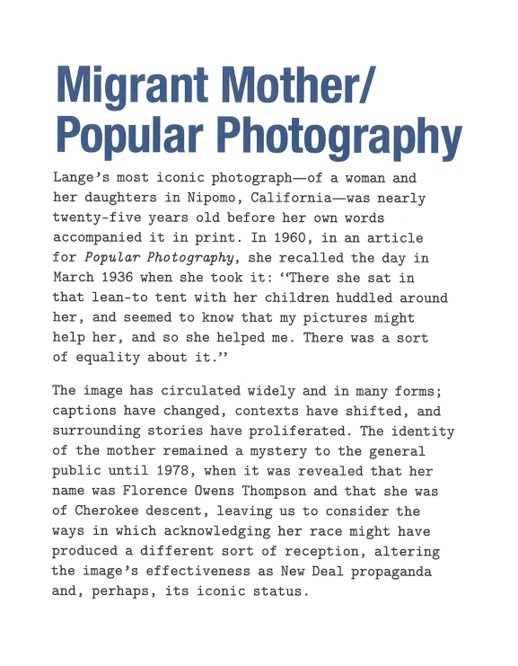 Lange Migrant Mother / Popular Photography