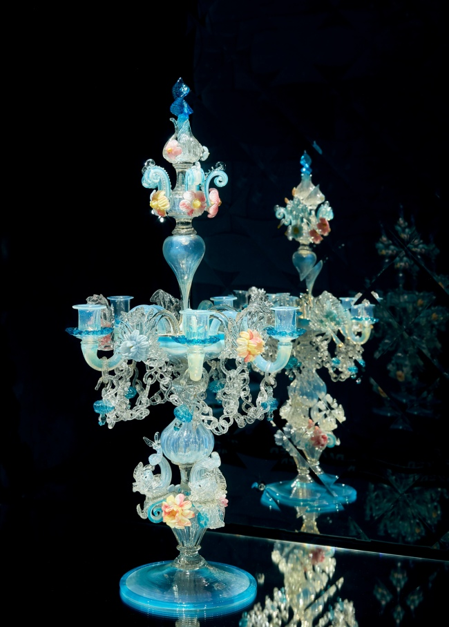 Installation view of 'Candelabrum' c. 1880, Venice and Murano Glass and Mosaic Company, Venice (manufacturer)