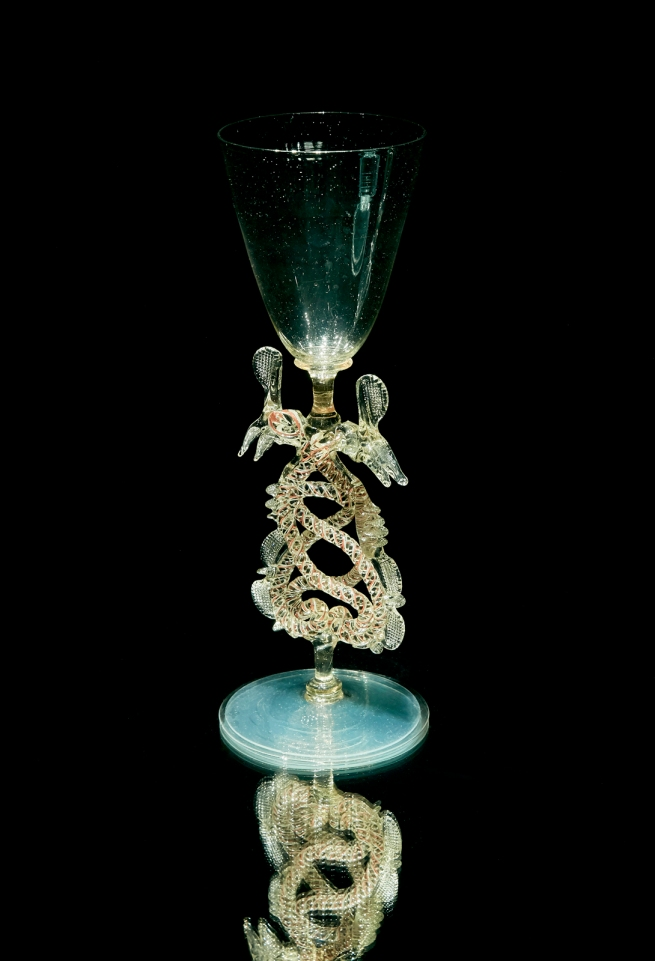 Installation view of 'Serpent-stem goblet (Flügelglas)' (early 17th century), The Netherlands, Holland / Germany (manufacturer)