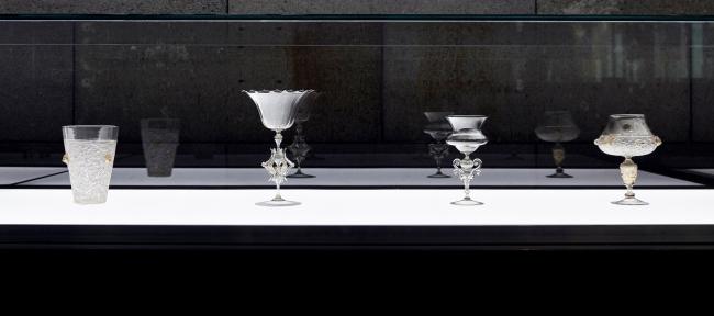 Installation view of 'Liquid Light: 500 Years of Venetian Glass' on display at NGV International