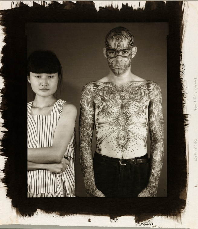 Madoka Takagi (American, born Japan, 1956-2015) 'Untitled [Self-portrait with Bare-chested, Tattooed Latino Man]' 1986
