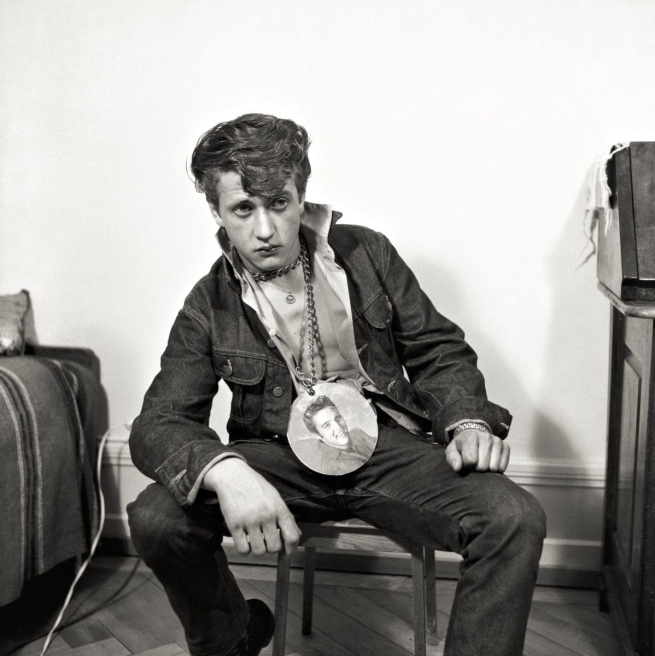 Karlheinz Weinberger (Swiss, 1921-2006) 'Sitting boy with elvis necklace in KHW studio, Zurich' 1961