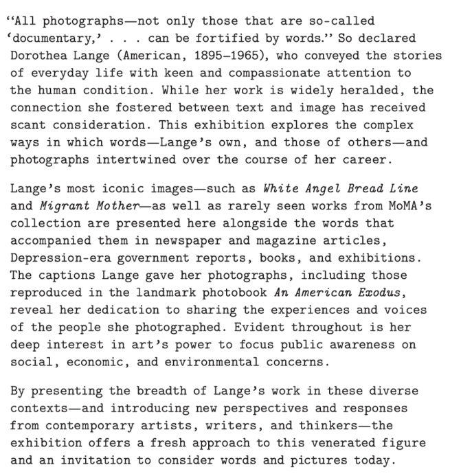 Dorothea Lange introduction