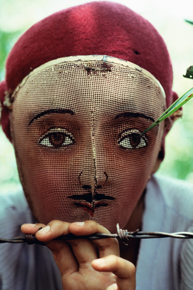 Susan Meiselas (American, b. 1948) 'Traditional Indian dance mask from the town of Monimbó, adopted by the rebels during the fight against Somoza to conceal identity, Nicaragua' 1978