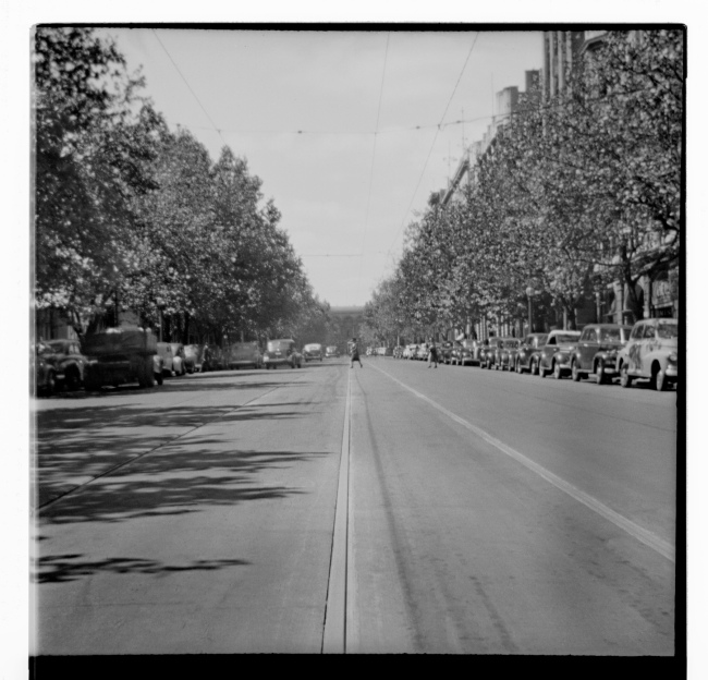 Unknown photographer (Australian) 'Untitled (Collins Street looking up towards Old Treasury Building)' 1946-47