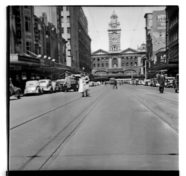 Unknown photographer (Australian) 'Untitled (Looking at Flinders Street railway station on Elizabeth Street, Melbourne)' 1946-47
