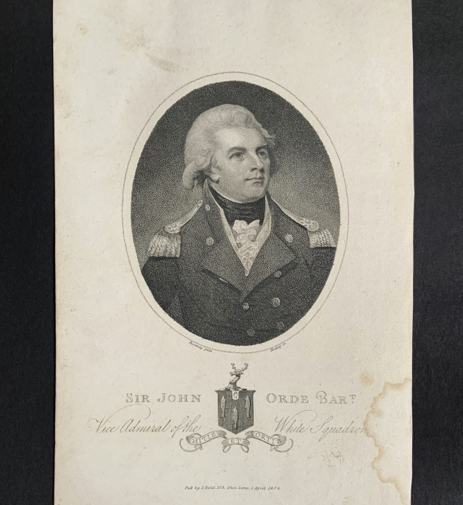 William Ridley (British, 1764-1838) 'Sir John Orde, Admiral of the White Squadron' 1804